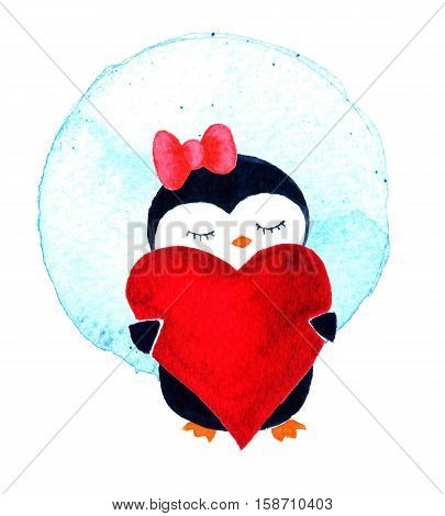 Cartoon penguin for babies and little kids. Cartoon penguin character. Penguin girl with heart. Watercolor illustration isolated on white background. Greeting card