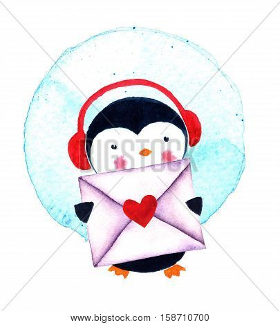 Cute Penguin with envelope. Cartoon penguin character. Funny bird. Watercolor illustration isolated on white background