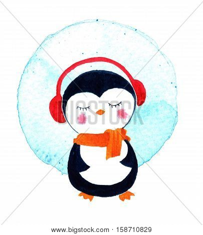Christmas cards with cute little penguin. Cartoon penguin character. Watercolor illustration isolated on white background