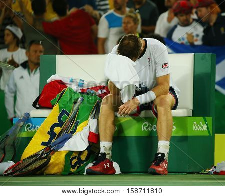 RIO DE JANEIRO, BRAZIL - AUGUST 14, 2016: Olympic champion Andy Murray of Great Britain celebrates victory after tennis men's singles final of the Rio 2016 Olympic Games at the Olympic Tennis Centre