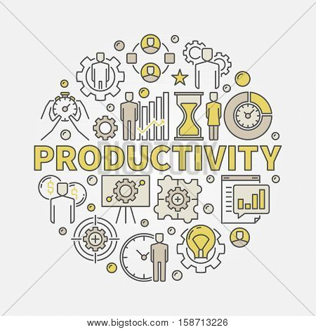 Productivity round colorful illustration. Vector flat concept symbol made with word PRODUCTIVITY and business icons