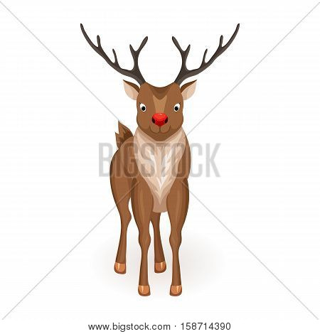 Reindeer Christmas vector illustration. Stand deer with red nose. Cartoon reindeer hold full face. Xmas holiday icons