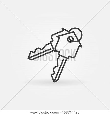 House keys minimal icon. Vector home security concepts ymbol. Key linear sign or logo element