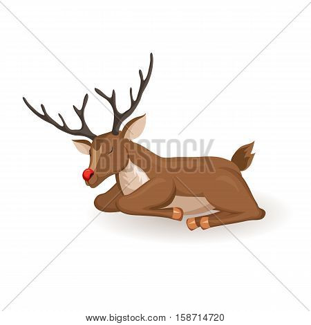 Reindeer lie and sleep Christmas vector illustration. Sleeaping deer with red nose. Cartoon full face reindeer sleep. Xmas holiday icons