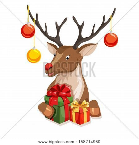 Reindeer peeking from behind the paper with gift. Christmas vector illustration. Peeking deer with red nose and gift. Cartoon reindeer peek full face or profile. Xmas holiday greeting card