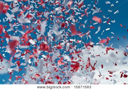 Red And White Confetti In The Air