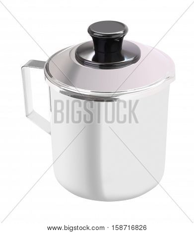 Upper close stainless gutter cup with handle on white background.