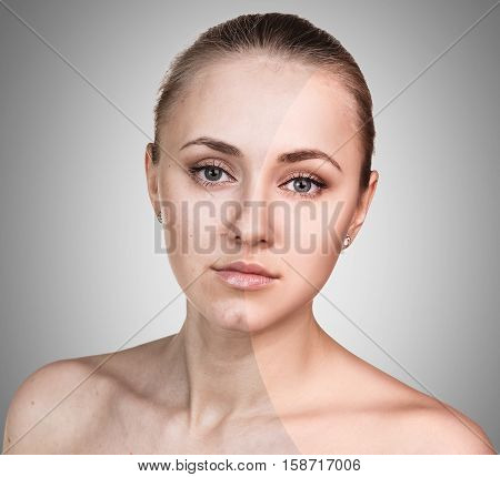 Comparison portrait of young woman before and after retouch over gray background