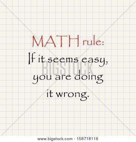 Math rule - funny mathematical inscription template