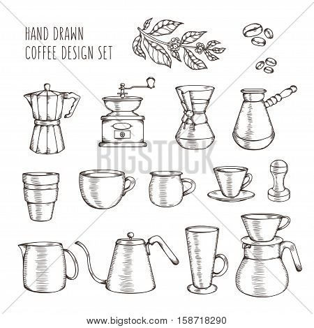 Hand drawn coffee related set. Hand crafted design elements for posters, prints, advertising. Kitchenware silhouettes. Alternative coffee devices. Vector vintage illustration.