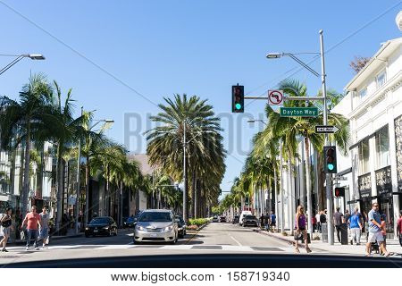 Los Angeles USA - September 26 2015: Cars are going on the Dayton Way in Los Angeles California.