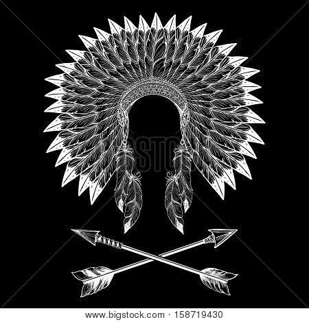 Native american indian war bonnet and arrows. Vector illustration