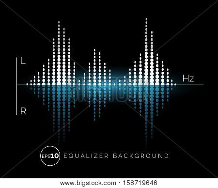 Equalizer digital sound design element on dark background. Vector illustration