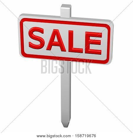 Pillar with sale sign isolated on white background. 3D rendering.