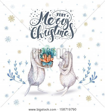 Watercolor hand drawn christmas cute illustrations gift collection with rabbit amd letering. Christmas set for scrapbook card invitation. Cute winter isolated bunny set.