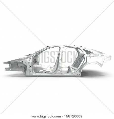 Side view Carcass af a sedan car on white background. 3D illustration