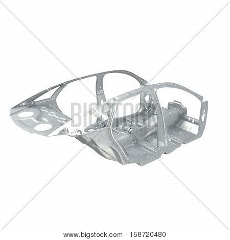 Angle from up Sedan without cover on white background. 3D illustration
