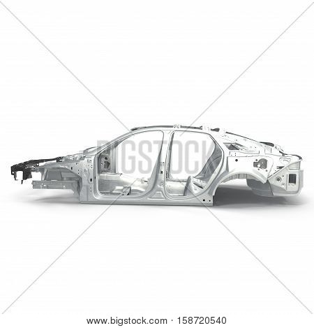 Sedan without cover on white background. Side view. 3D illustration