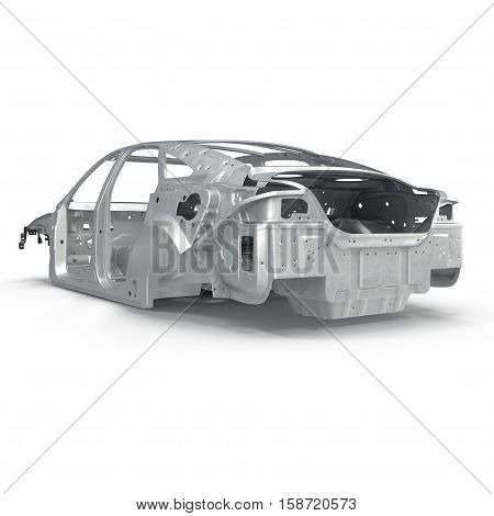 Sedan without cover on white background. 3D illustration