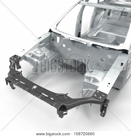 Car Frame without Chassis on white background. 3D illustration