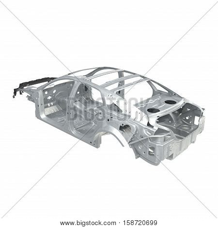 Car Frame without Chassis on white background. Angle from up. 3D illustration