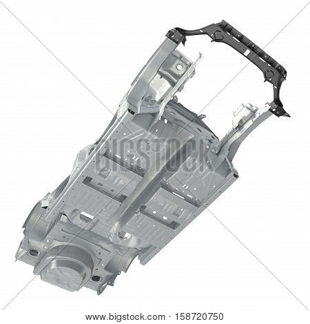 Bottom view Car Frame without Chassis on white background. 3D illustration