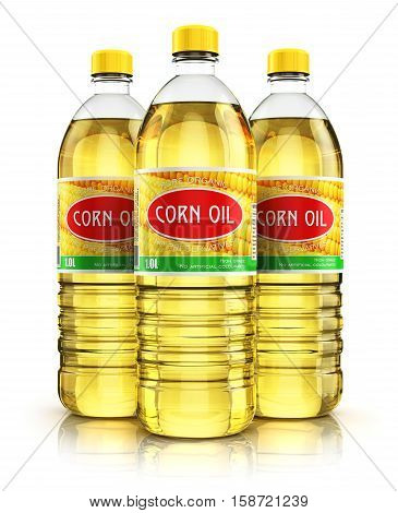 3D render illustration of the group of three plastic bottles with yellow refined vegetable corn cooking oil or organic fat isolated on white background with reflection effect