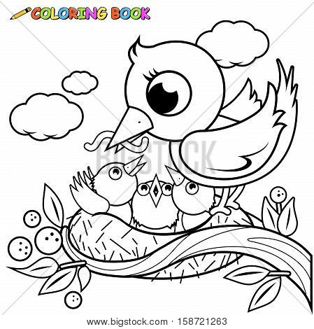 Cute birds in the nest coloring book page
