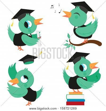 Vector illustration set of cute birds in graduation gowns and hats.