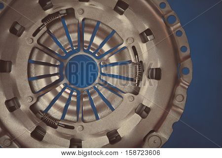 Close up shot of a car's clutch plate.