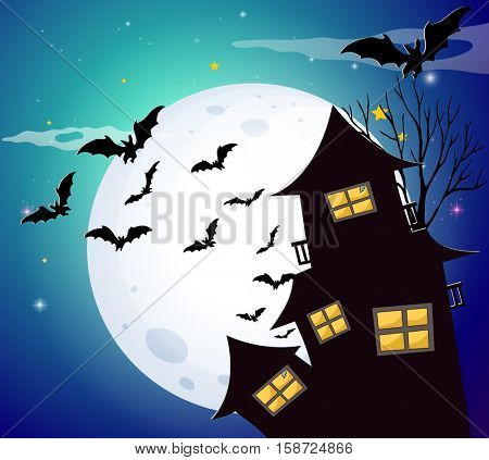 Halloween scene with bats and house