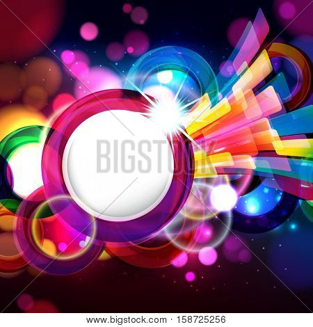 Colorful abstract background with bokeh defocused lights. Round banner for your text.