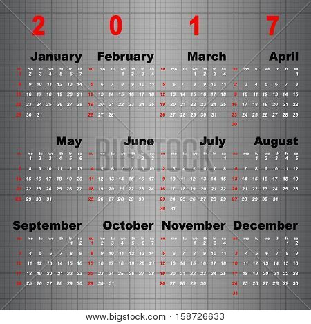 Business vector template of 2017 calendar on grey table background stock vector