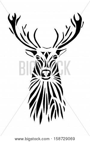 Black silhouette face of deer on white background. Stencil.