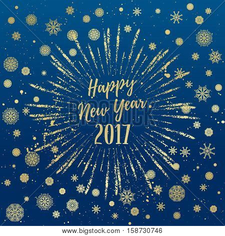 Happy New Year 2017 greeting card. Vector winter holidays backgrounds with starburst hand lettering calligraphic snowflakes falling snow.