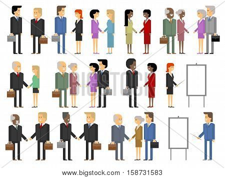 Business relations and communications. Vector material design set