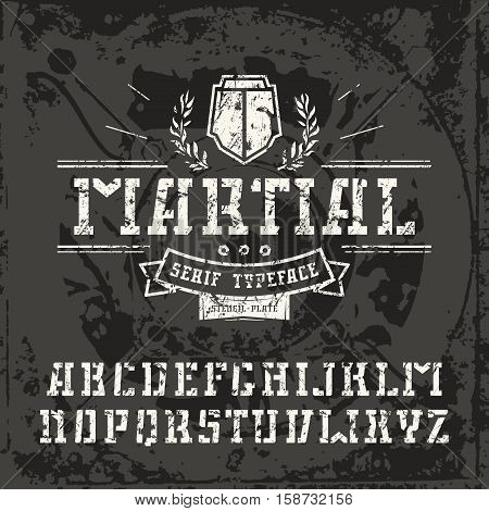 Stencil-plate serif font in military style with shabby texture. White font on black texture background