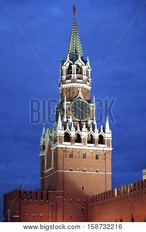 Spasskaya Tower in the Moscow Kremlin by night