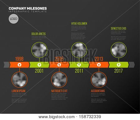 Vector Infographic Company Milestones Timeline Template with circle photo placeholders on dual color time line - dark version
