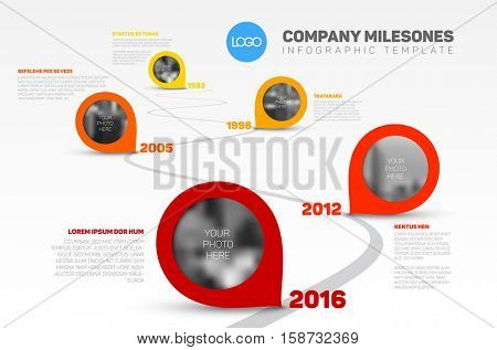 Vector Infographic Company Milestones Timeline Template with pointers and photo placeholders on a curved road line