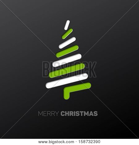 Simple vector christmas card with abstract green and white  christmas tree made from lines - original new year card