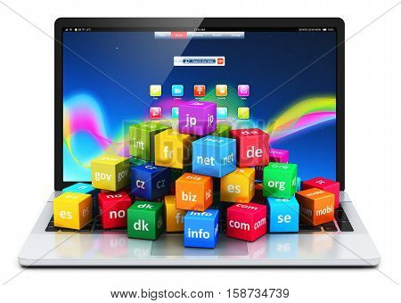 3D render illustration of the group of color icons or buttons with domain names and laptop or notebook isolated on white background with reflection effect