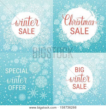 Big winter sale Christmas sale special winter offer posters set. Vector winter holiday backgrounds with hand lettering calligraphic snowflakes falling snow.