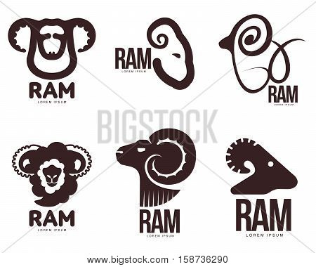 Set of ram, sheep, lamb head graphic logo templates, vector illustration on white background. Various black and white sheep, lamb, ram heads for business, farm, wool products logo design