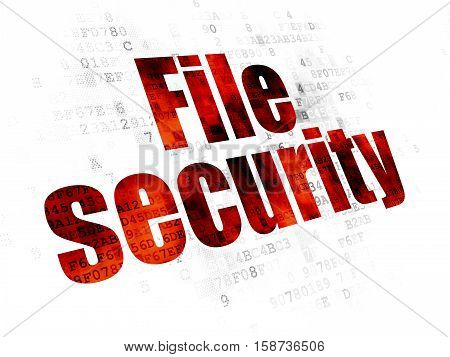 Security concept: Pixelated red text File Security on Digital background