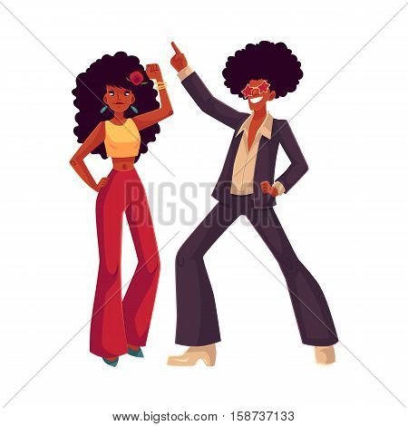 Man and woman with afro hair and 1970s style clothes dancing disco, cartoon style vector illustration isolated on white background. Young man and woman in flares with african black hair