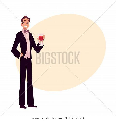 Man in 1920s style smoking and bow tie at a vintage party, cartoon style vector illustration on background with place for text. Young man in stylish black vintage suit holding a glass of wine