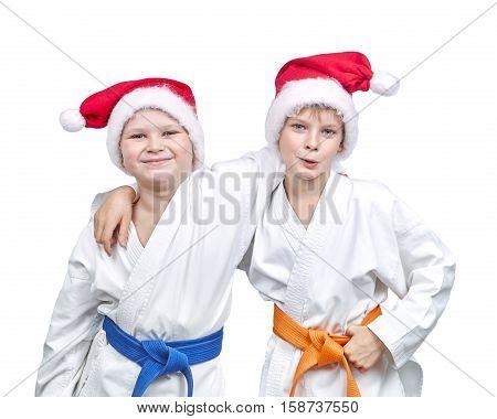 Boys athletes in caps of Santa Claus