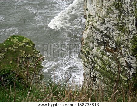 High chalk cliffs with sea and waves breaking against the base and seabirds nesting on the cliffs.