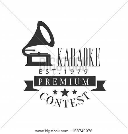 Singing Contest Karaoke Premium Quality Bar Club Monochrome Promotion Retro Sign Vector Design Template. Black And White Illustration With Music Related Objects Silhouettes With Text.